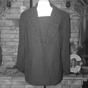 Maxie Klein Collection Black Beaded Pant Suit 18W
